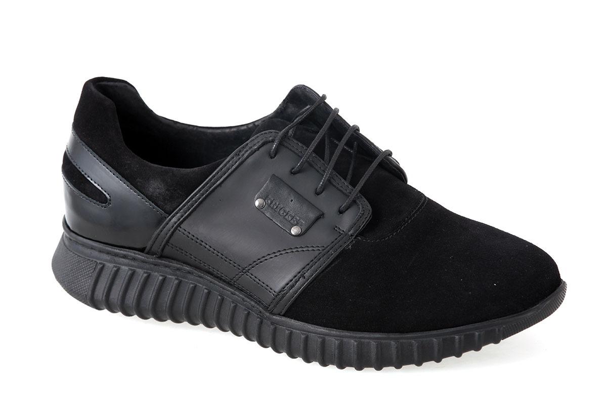 c143161031 Kricket Ανδρικό Δερμάτινο Sneaker Μαύρο CAR1 - Nero Kaidas