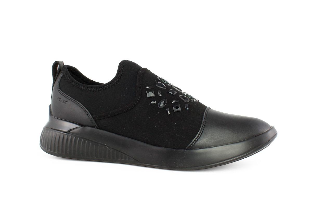 6f654cb2ef Geox Γυναικείο Δερμάτινο Sneaker Μαύρο D THERAGON A - Nero Kaidas