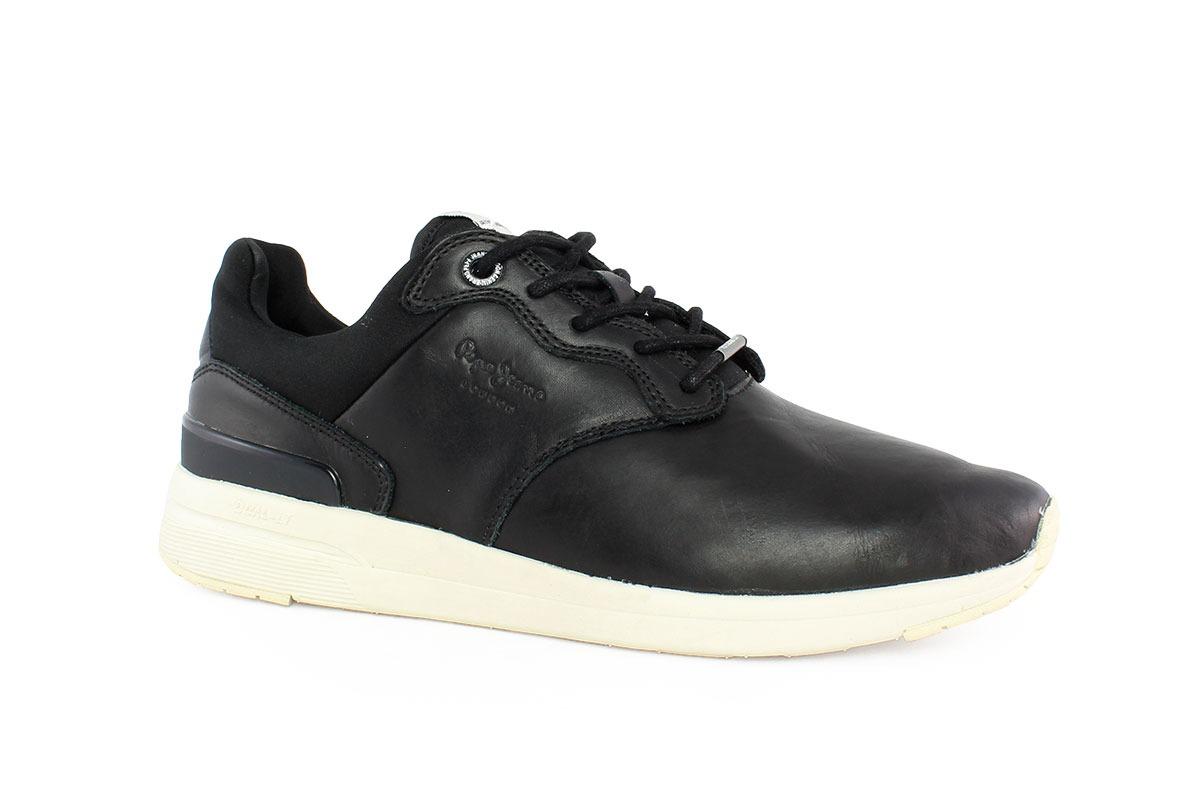 130c36e0c0 Pepe Jeans Ανδρικό Δερμάτινο Sneaker Μαύρο 30479 - Nero Kaidas